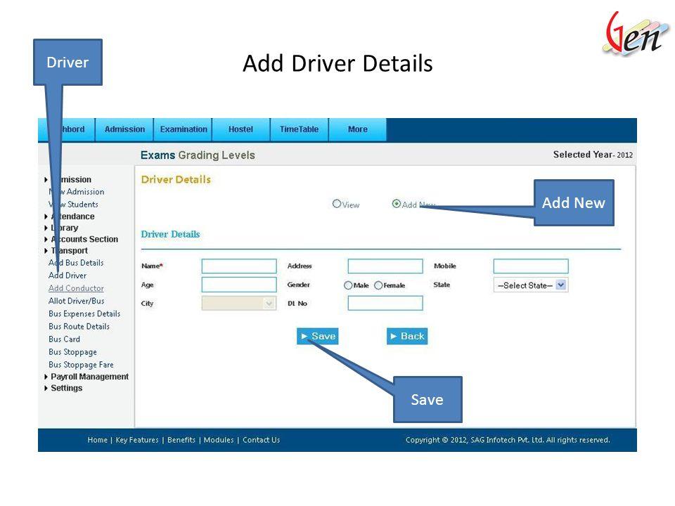 Driver View Driver Driver List View Details