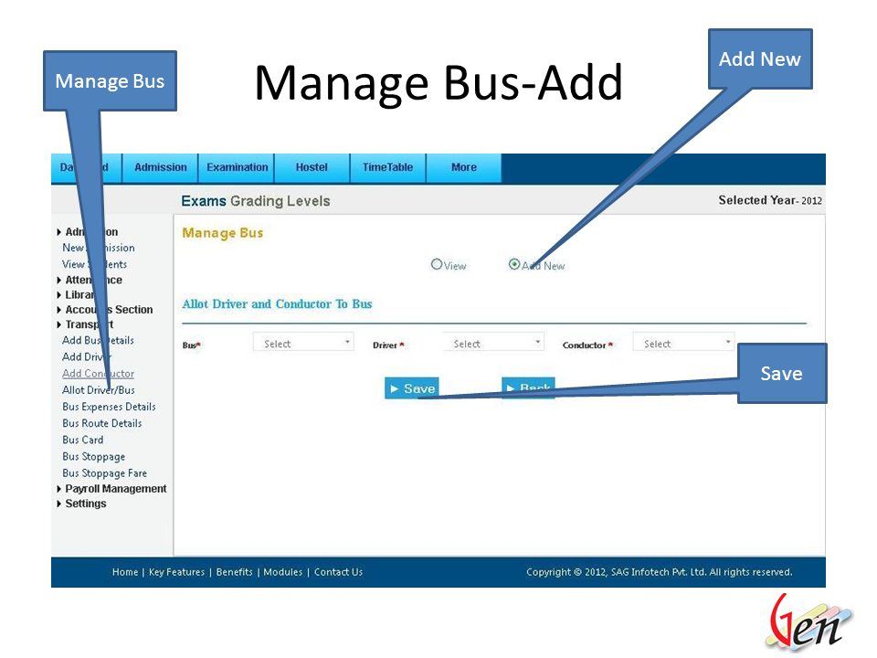 Manage Bus Manage Driver/Conductor View Allotted List Details