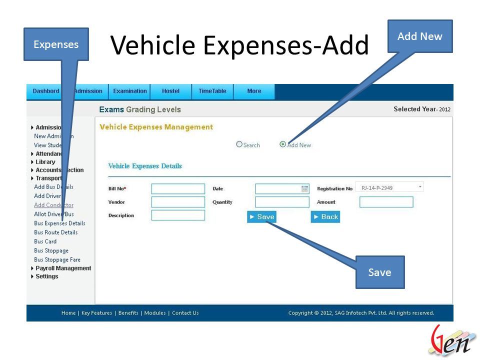 Vehicle Expense ExpensesVehicle No List View