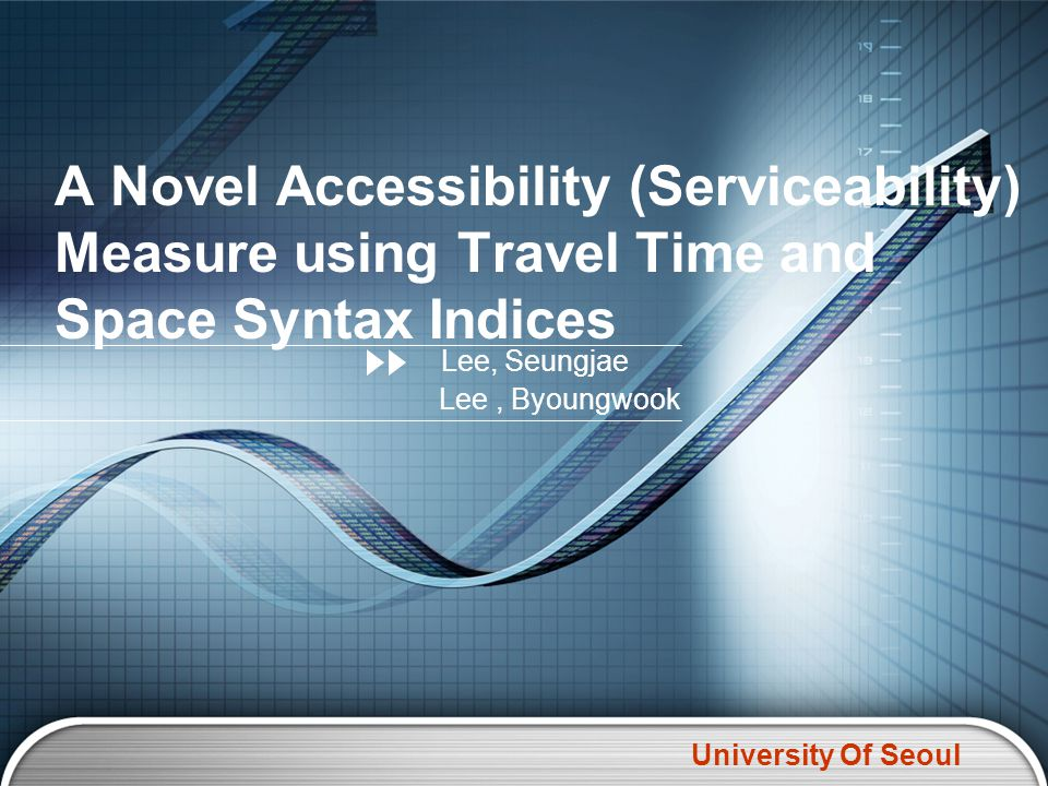 University Of Seoul Measuring Serviceability with Space Syntax and Travel Time Results with Travel Time of Proto-type Networks Point to othersInner ProductTravel time Stop.122.2346.16 Stop.215.2333.50 Stop.314.2337.72 Stop.417.2337.94 Stop.518.0143.50 Stop.620.8852.66 Stop.720.0441.83 Stop.821.9949.94 Stop.926.3461.83 * * * Average value
