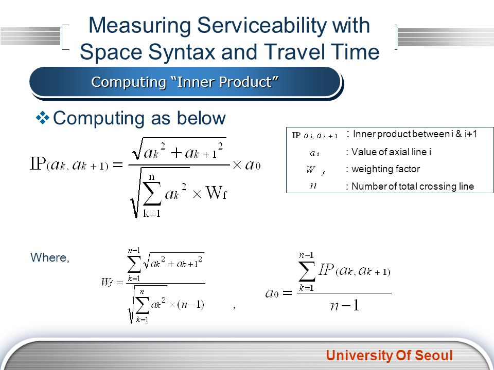 University Of Seoul Computing as below Measuring Serviceability with Space Syntax and Travel Time Computing Inner Product Where, : Inner product between i & i+1 : Value of axial line i : weighting factor : Number of total crossing line,
