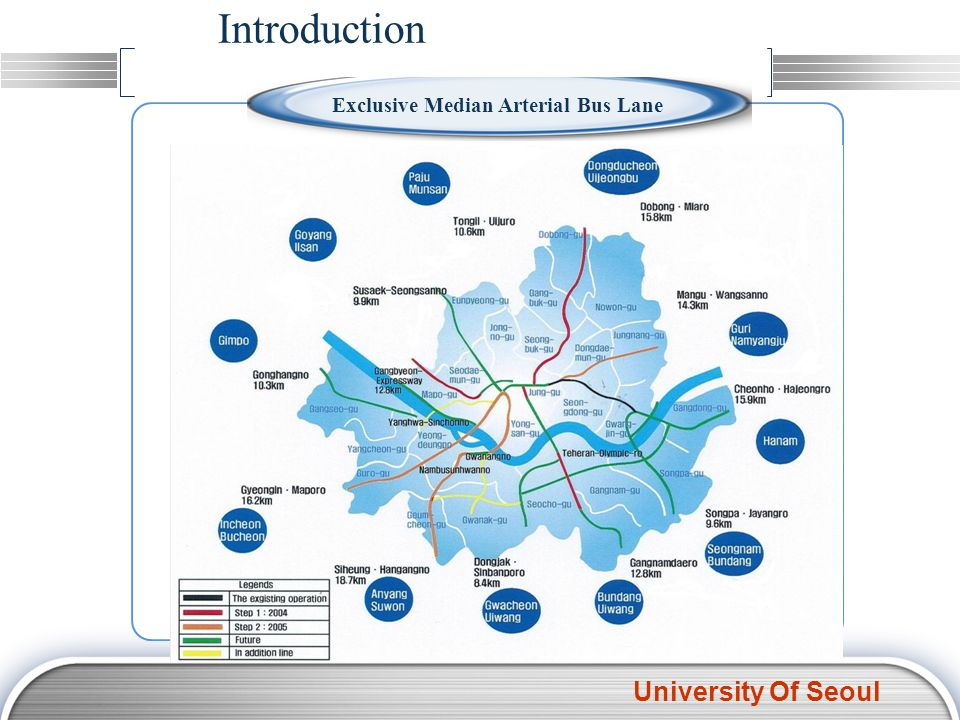 University Of Seoul Introduction Bus speed increase Bus speed increase Securing punctuality Securing punctuality Convenience improvement Convenience improvement Lack of dwelling area due to street facilities Interruption / outer lane stop Exclusive lane for bus Separated dwelling area for bus passengers Exclusive Median Arterial Bus Lane