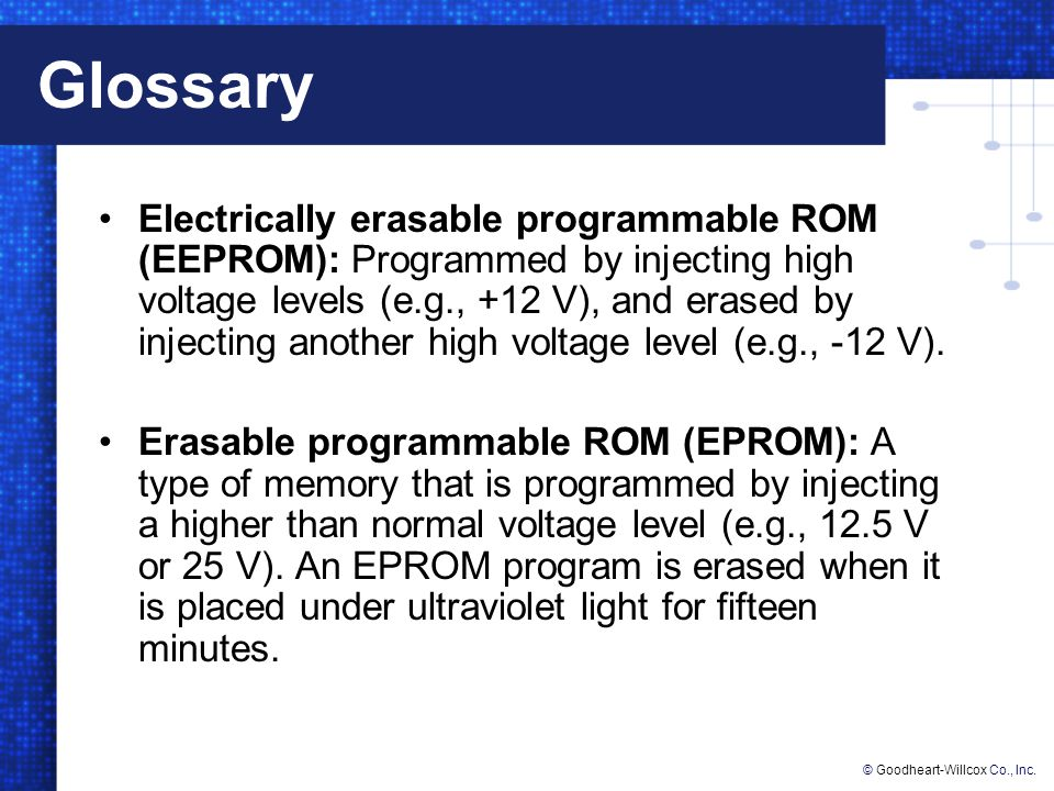 © Goodheart-Willcox Co., Inc.Glossary Firmware: The software that resides in ROM.