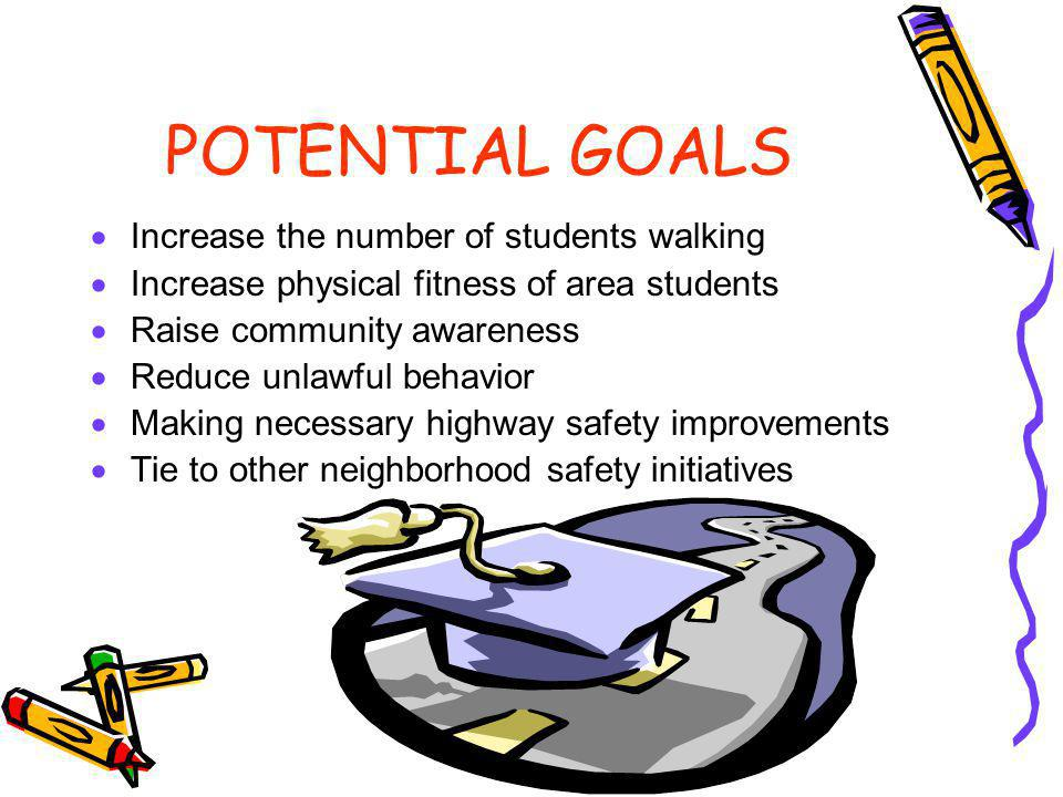 POTENTIAL GOALS Increase the number of students walking Increase physical fitness of area students Raise community awareness Reduce unlawful behavior Making necessary highway safety improvements Tie to other neighborhood safety initiatives