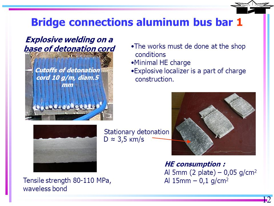12 Bridge connections aluminum bus bar 1 The works must de done at the shop conditions Minimal HE charge Explosive localizer is a part of charge construction.