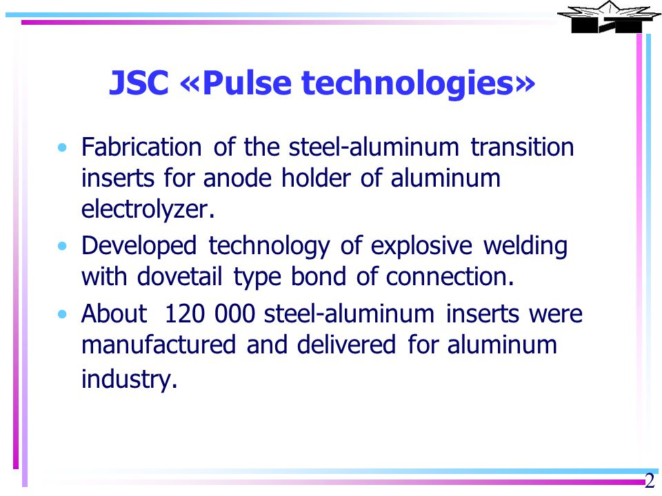 3 Objectives for explosive metalworking Decrease of voltage drop Treatment of cathode bar for recycling Cooling of Shell Detachable Contact joint Connection of bus bar Bimetallic inserts