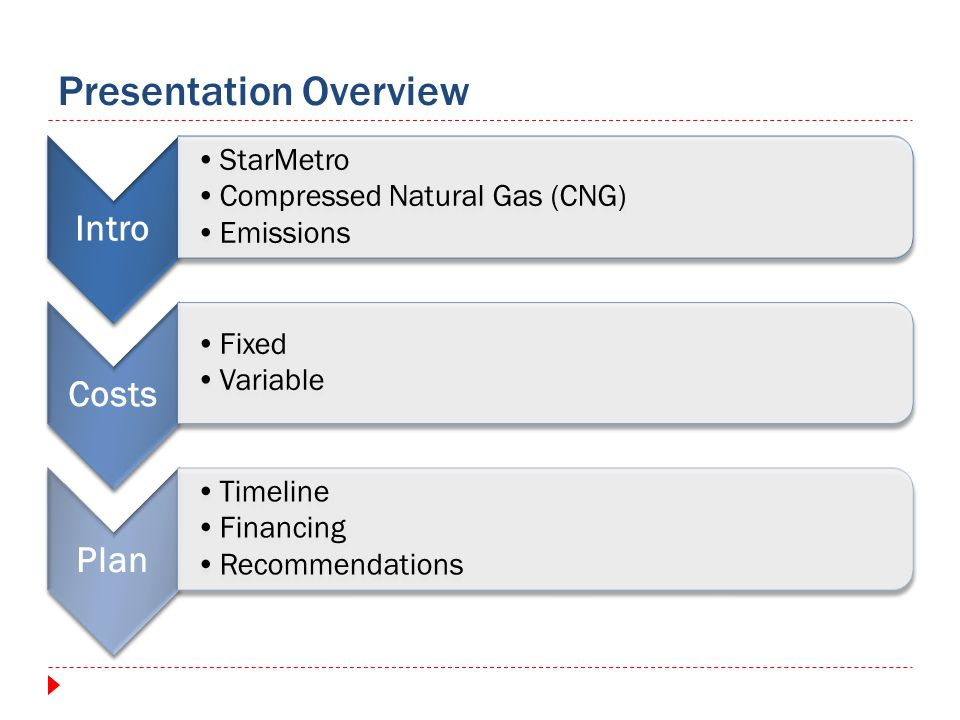 Intro StarMetro Compressed Natural Gas (CNG) Emissions Costs Fixed Variable Plan Timeline Financing Recommendations Presentation Overview