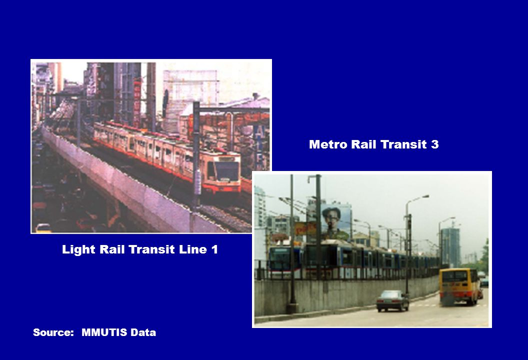 Light Rail Transit Line 1 Metro Rail Transit 3 Source: MMUTIS Data