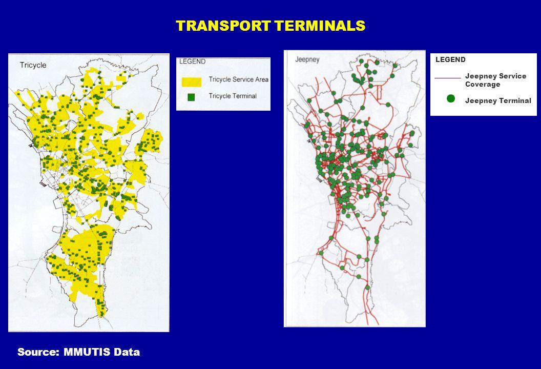 TRANSPORT TERMINALS LEGEND Jeepney Service Coverage Jeepney Terminal
