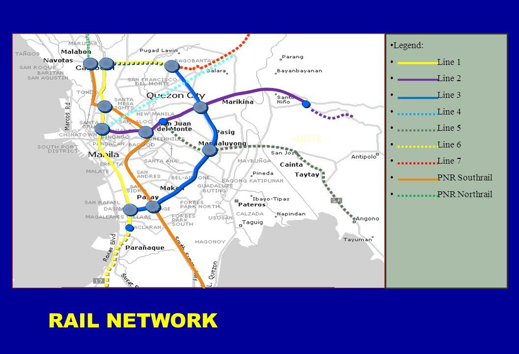 3/12/2008 3:23 PM REP/RAIL TPD 11 MRT8 Legend: Line 1 Line 2 Line 3 Line 4 Line 5 Line 6 Line 7 PNR Southrail PNR Northrail RAIL NETWORK