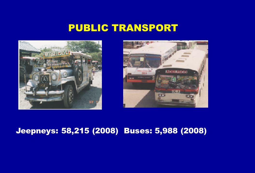 Jeepneys: 58,215 (2008) Buses: 5,988 (2008) PUBLIC TRANSPORT
