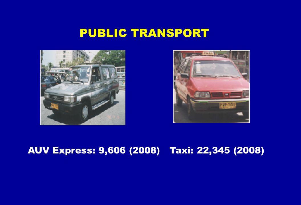 AUV Express: 9,606 (2008) Taxi: 22,345 (2008) PUBLIC TRANSPORT