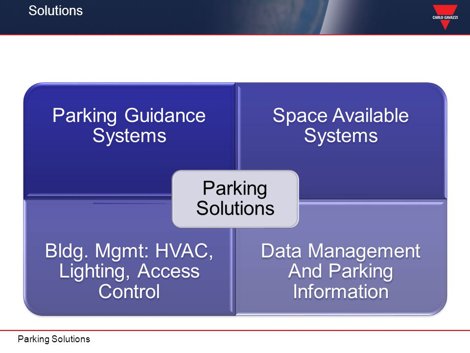 Solutions Parking Solutions Parking Guidance Systems Space Available Systems Bldg. Mgmt: HVAC, Lighting, Access Control Data Management And Parking In