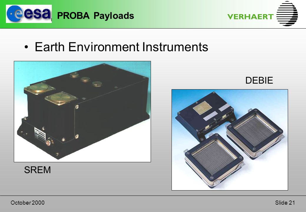 Slide 21October 2000 PROBA Payloads Earth Environment Instruments SREM DEBIE