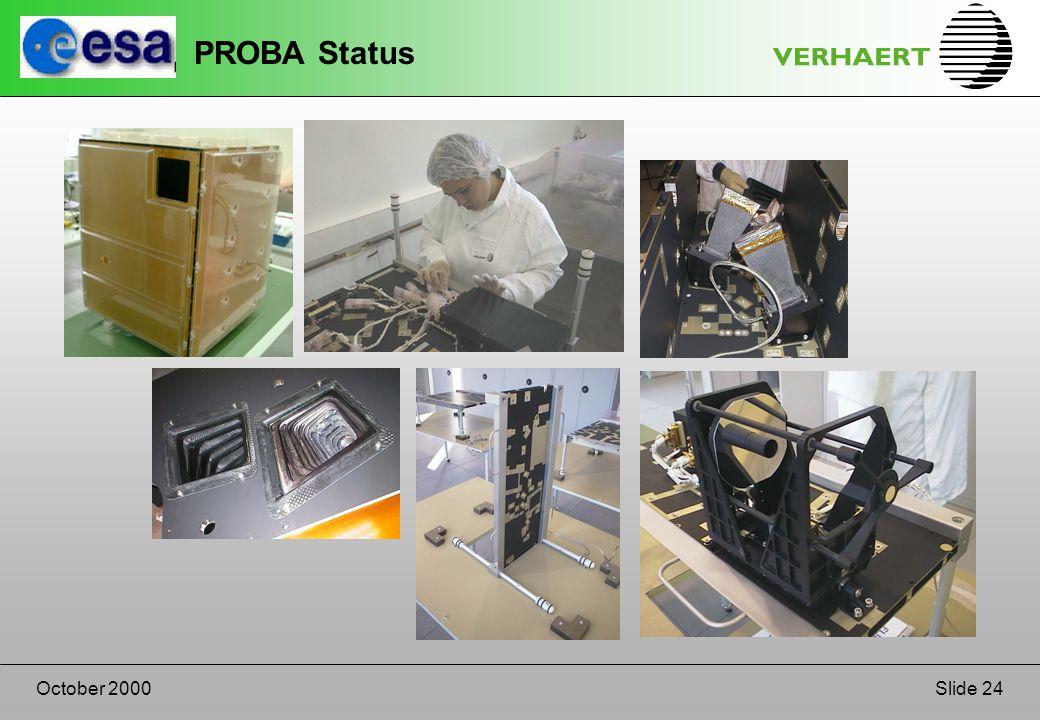 Slide 24October 2000 PROBA Status