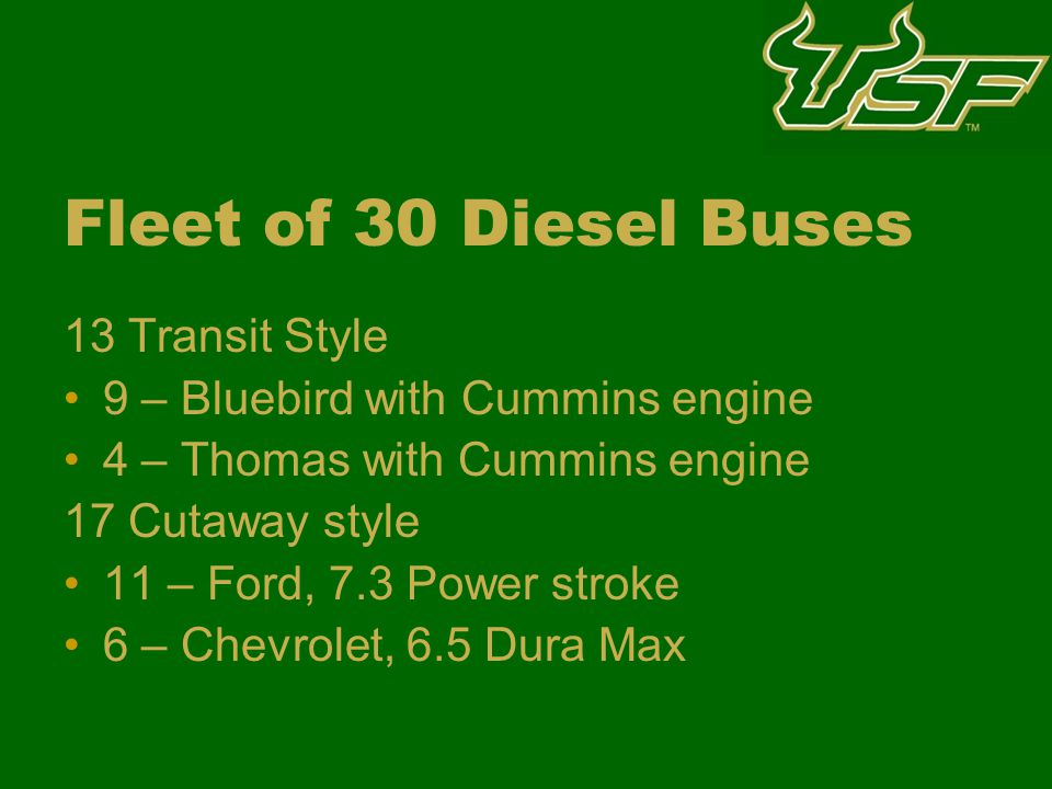 Fleet of 30 Diesel Buses 13 Transit Style 9 – Bluebird with Cummins engine 4 – Thomas with Cummins engine 17 Cutaway style 11 – Ford, 7.3 Power stroke 6 – Chevrolet, 6.5 Dura Max