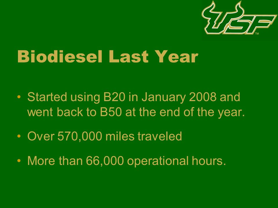 Biodiesel Last Year Started using B20 in January 2008 and went back to B50 at the end of the year.