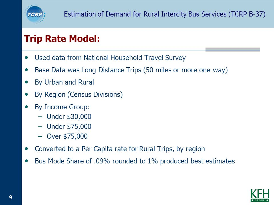Estimation of Demand for Rural Intercity Bus Services (TCRP B-37) 9 Trip Rate Model: Used data from National Household Travel Survey Base Data was Long Distance Trips (50 miles or more one-way) By Urban and Rural By Region (Census Divisions) By Income Group: –Under $30,000 –Under $75,000 –Over $75,000 Converted to a Per Capita rate for Rural Trips, by region Bus Mode Share of.09% rounded to 1% produced best estimates