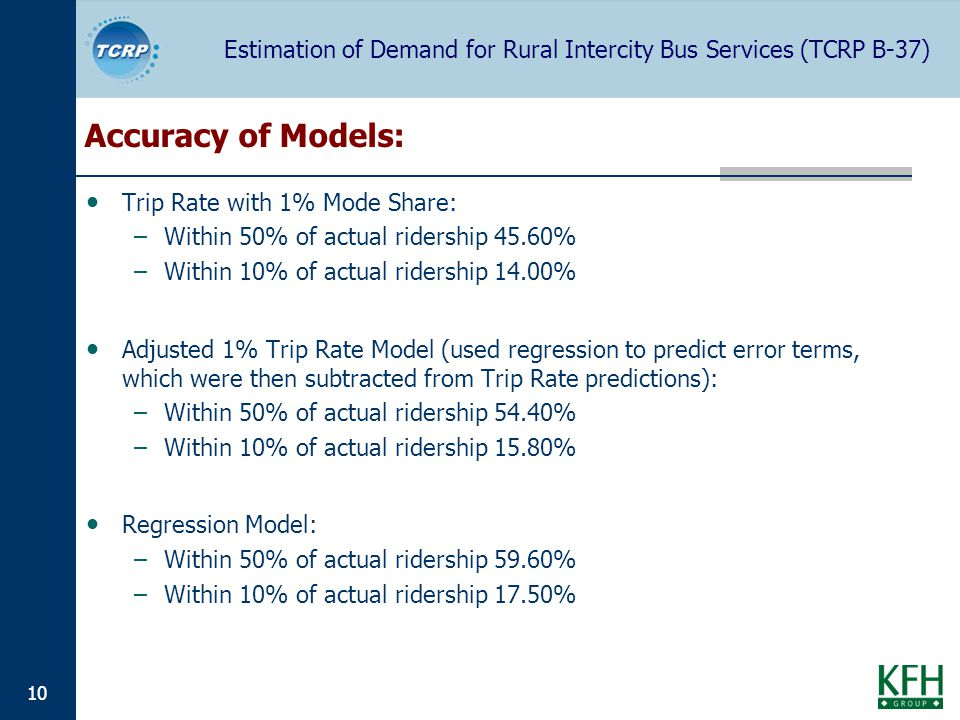 Estimation of Demand for Rural Intercity Bus Services (TCRP B-37) 10 Accuracy of Models: Trip Rate with 1% Mode Share: –Within 50% of actual ridership