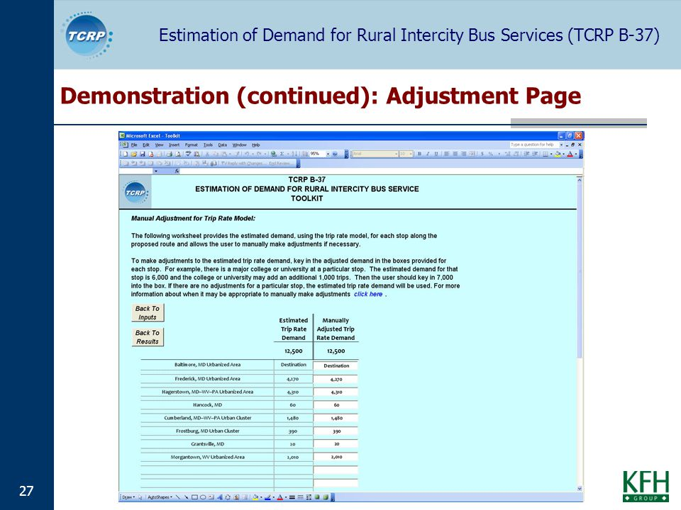 Estimation of Demand for Rural Intercity Bus Services (TCRP B-37) 27 Demonstration (continued): Adjustment Page