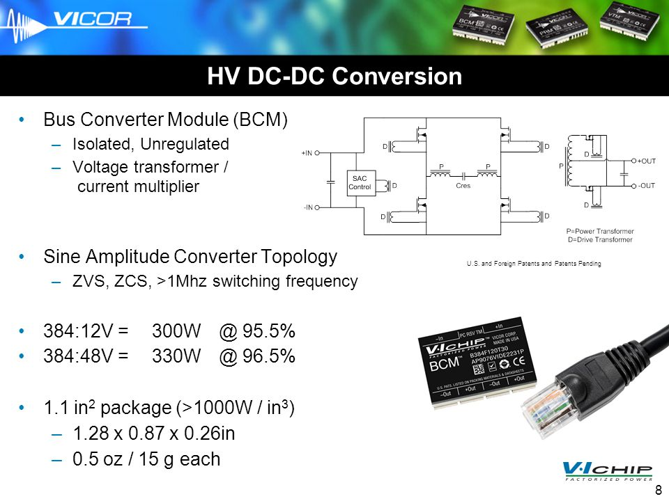 SC07, 11-14-07 8 HV DC-DC Conversion Bus Converter Module (BCM) –Isolated, Unregulated –Voltage transformer / current multiplier Sine Amplitude Conver