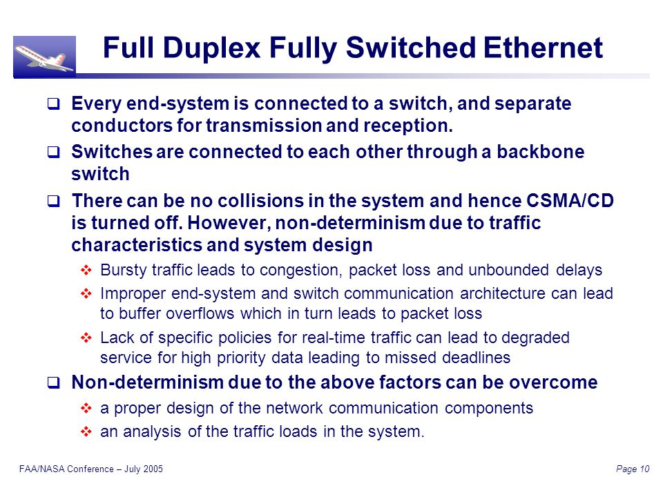 FAA/NASA Conference – July 2005 Page 10 Full Duplex Fully Switched Ethernet Every end-system is connected to a switch, and separate conductors for transmission and reception.
