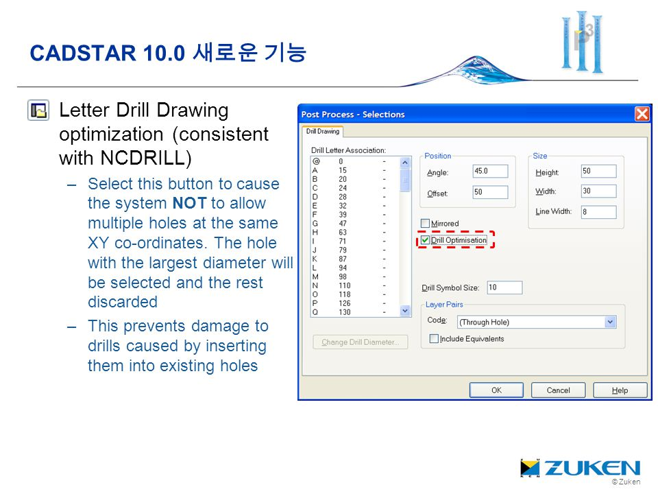 © Zuken Letter Drill Drawing optimization (consistent with NCDRILL) –Select this button to cause the system NOT to allow multiple holes at the same XY