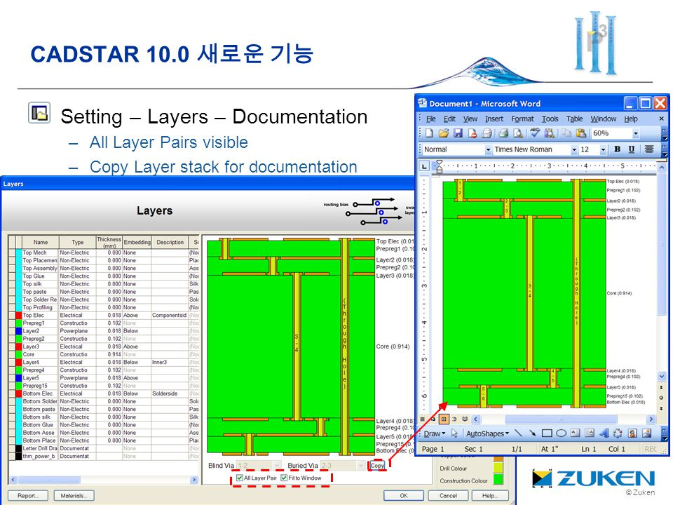 © Zuken Setting – Layers – Documentation –All Layer Pairs visible –Copy Layer stack for documentation CADSTAR 10.0