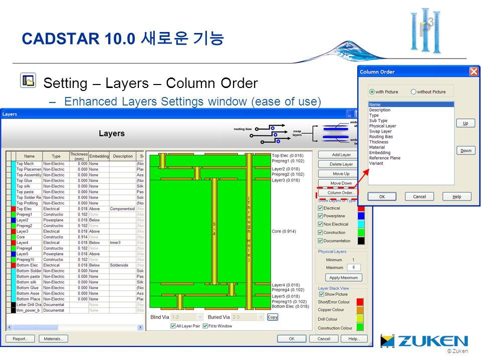 © Zuken Setting – Layers – Column Order –Enhanced Layers Settings window (ease of use) CADSTAR 10.0