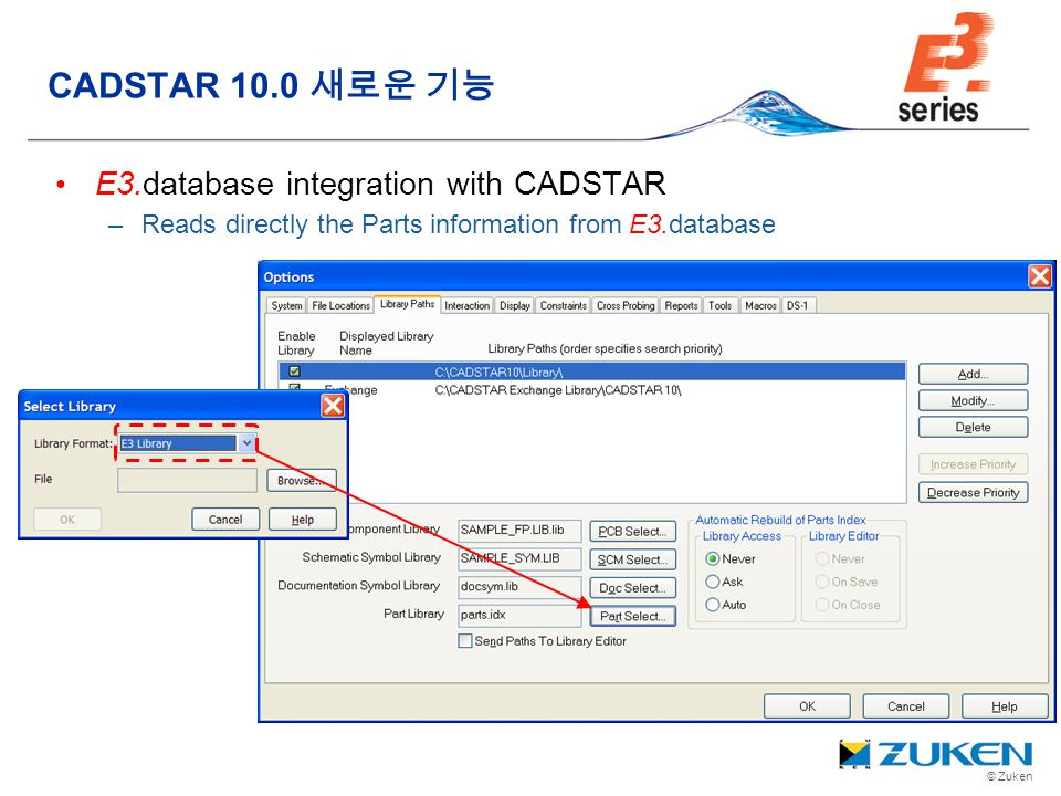 © Zuken E3.database integration with CADSTAR –Reads directly the Parts information from E3.database CADSTAR 10.0