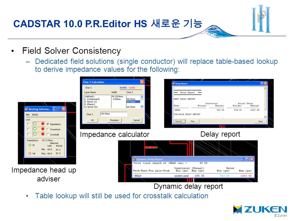 © Zuken Field Solver Consistency –Dedicated field solutions (single conductor) will replace table-based lookup to derive impedance values for the foll