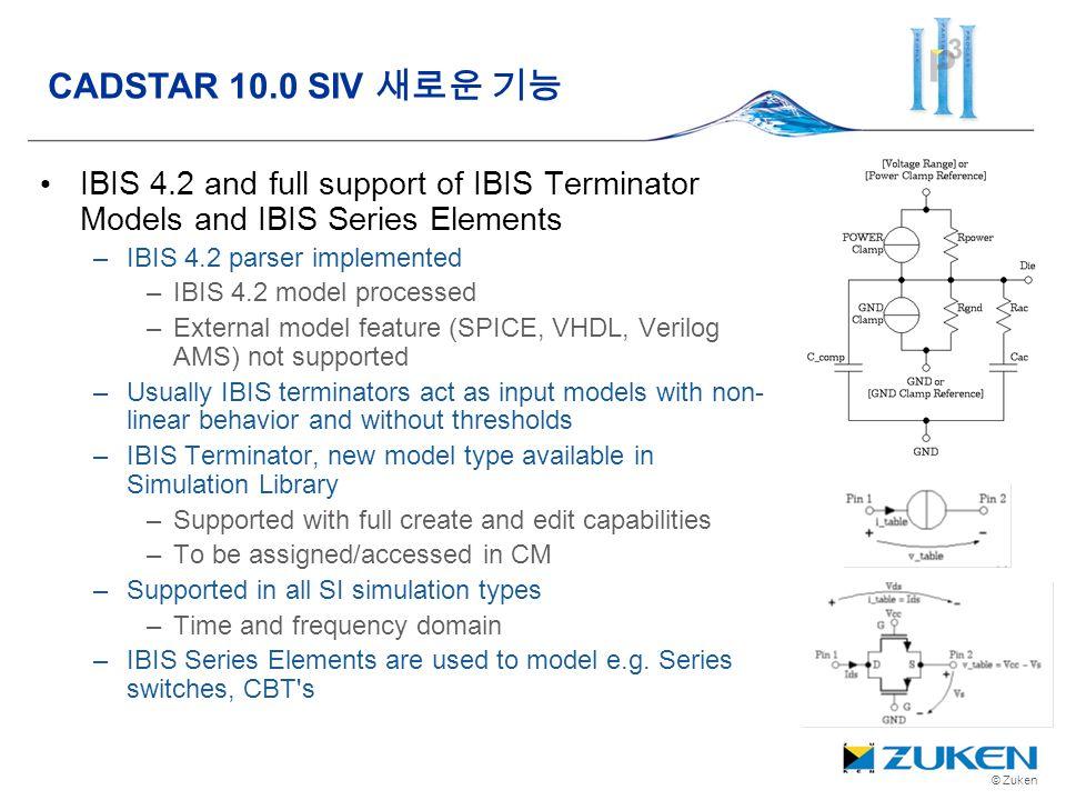 © Zuken IBIS 4.2 and full support of IBIS Terminator Models and IBIS Series Elements –IBIS 4.2 parser implemented –IBIS 4.2 model processed –External