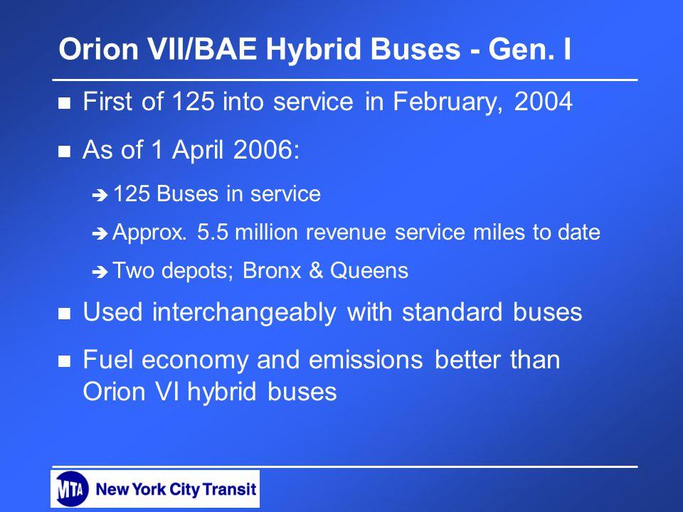 Orion VII/BAE Hybrid Buses - Gen.