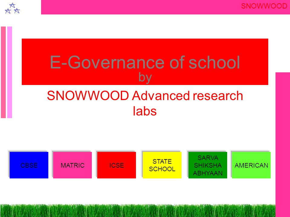 SNOWWOOD E-Governance of school by SNOWWOOD Advanced research labs CBSEMATRICICSE STATE SCHOOL SARVA SHIKSHA ABHYAAN AMERICAN