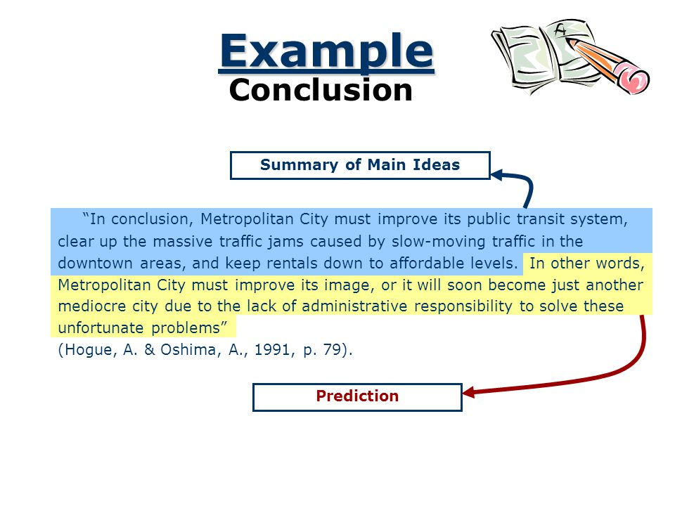 Example Conclusion Summary of Main Ideas Prediction In conclusion, Metropolitan City must improve its public transit system, clear up the massive traf