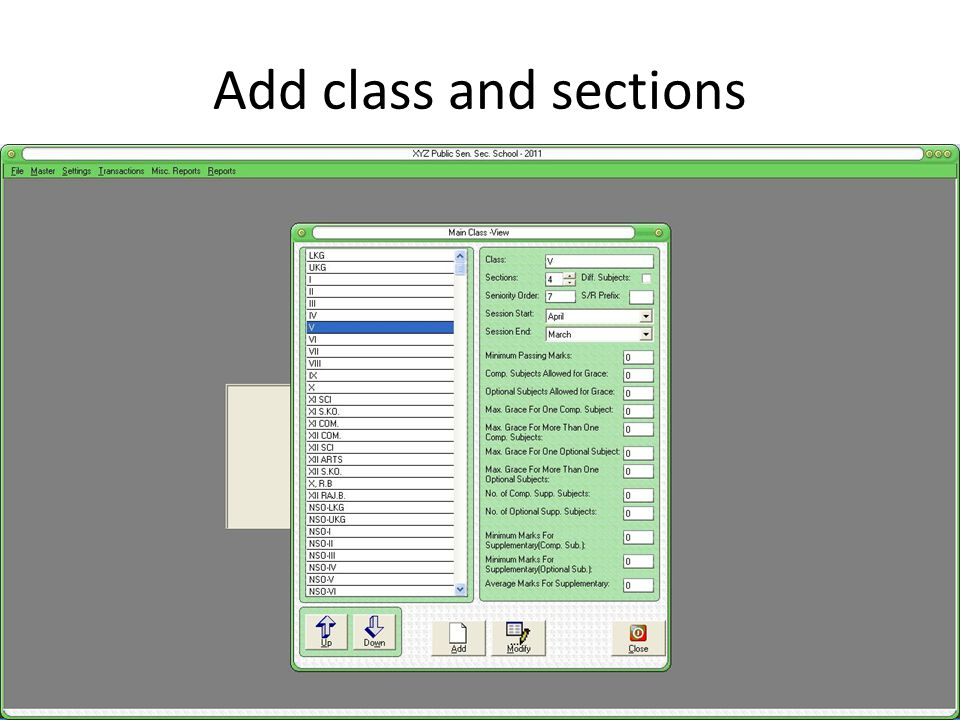 Add class and sections