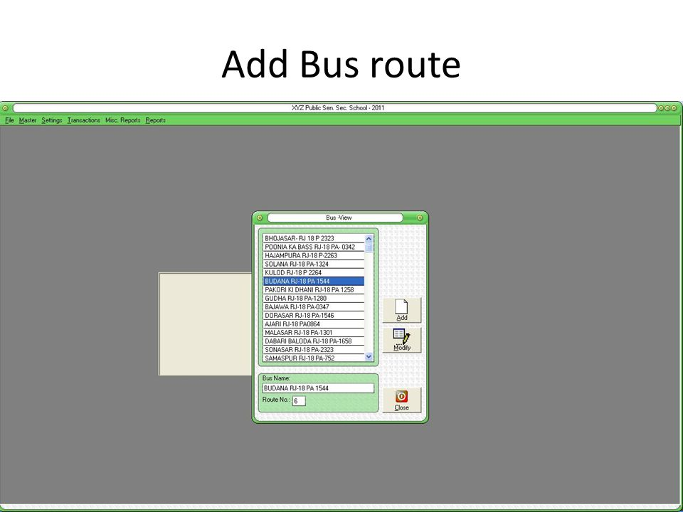 Add Bus route