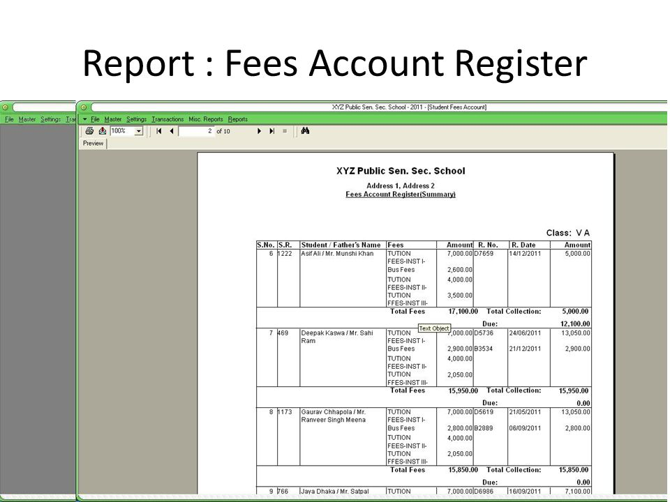Report : Fees Account Register