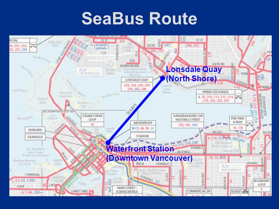 SeaBus Route Lonsdale Quay (North Shore) Waterfront Station (Downtown Vancouver)
