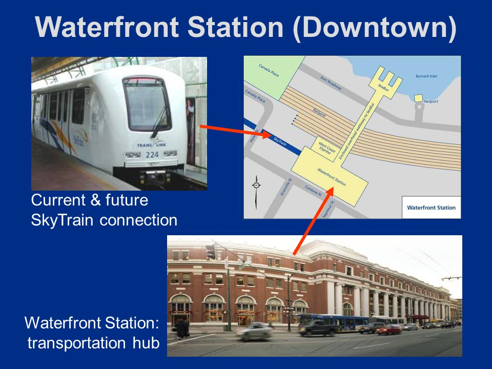 Waterfront Station (Downtown) Waterfront Station: transportation hub Current & future SkyTrain connection