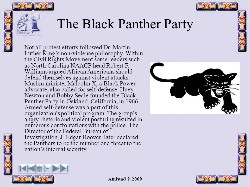 Amistad © 2009 The Black Panther Party Not all protest efforts followed Dr.
