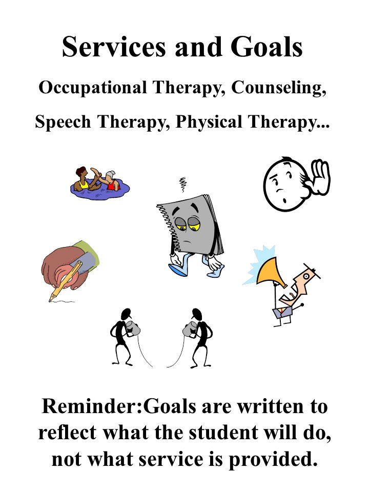 Services and Goals Occupational Therapy, Counseling, Speech Therapy, Physical Therapy...