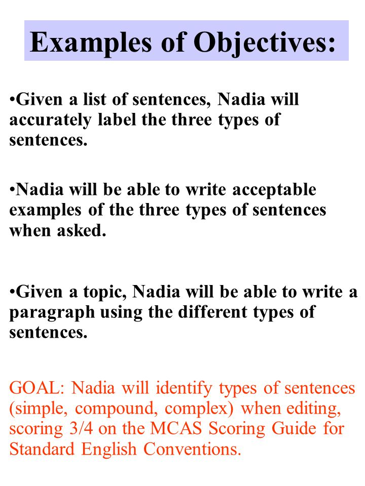 Examples of Objectives: Given a list of sentences, Nadia will accurately label the three types of sentences.