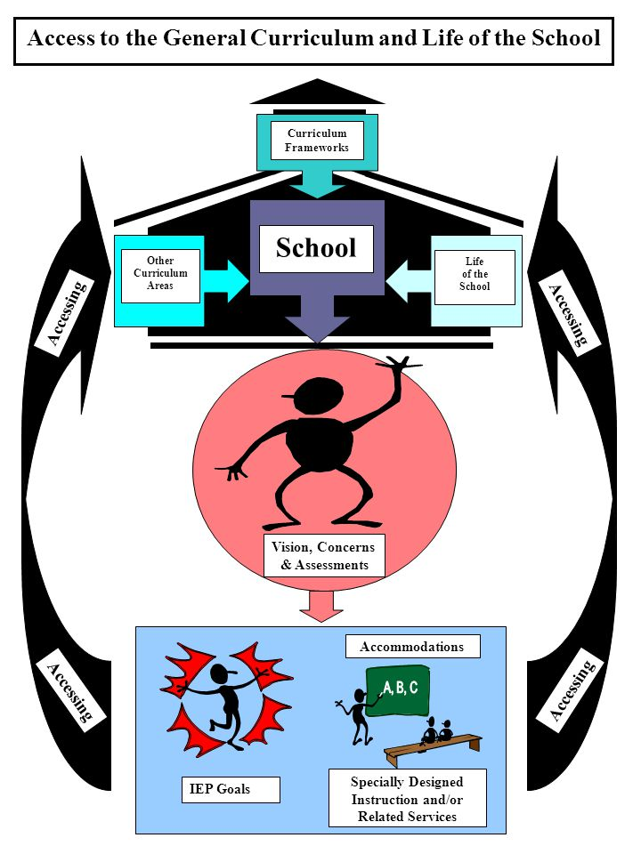 IEP Goals Access to the General Curriculum and Life of the School Curriculum Frameworks Other Curriculum Areas School Life of the School Accommodations IEP Goals Specially Designed Instruction and/or Related Services Vision, Concerns & Assessments Accessing
