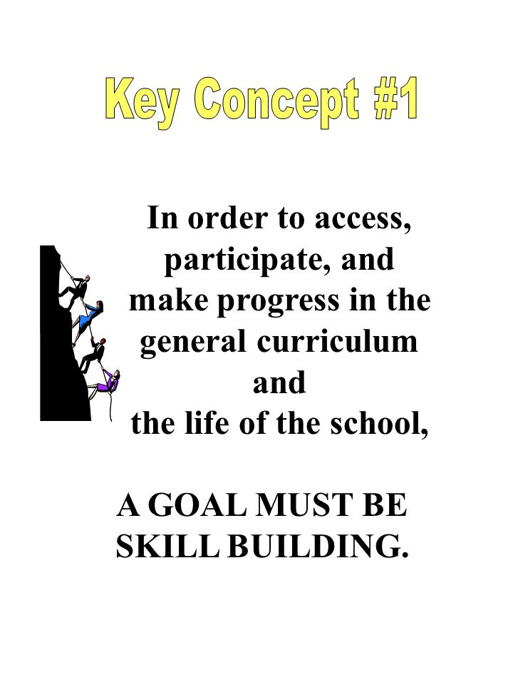In order to access, participate, and make progress in the general curriculum and the life of the school, A GOAL MUST BE SKILL BUILDING.