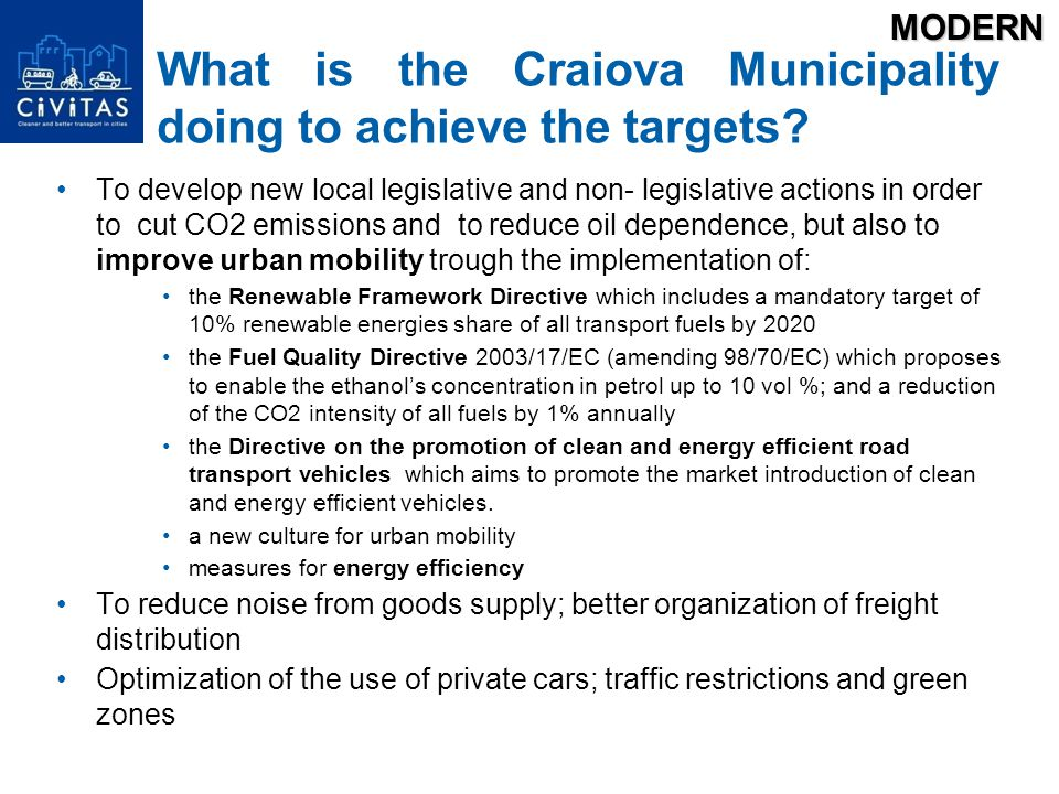 What is the Craiova Municipality doing to achieve the targets.