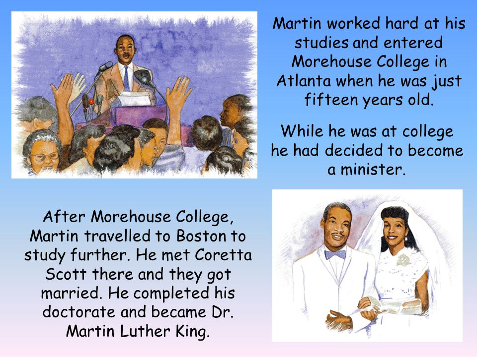 After college Dr.King began his first job as a pastor in Montgomery, Alabama in 1954.