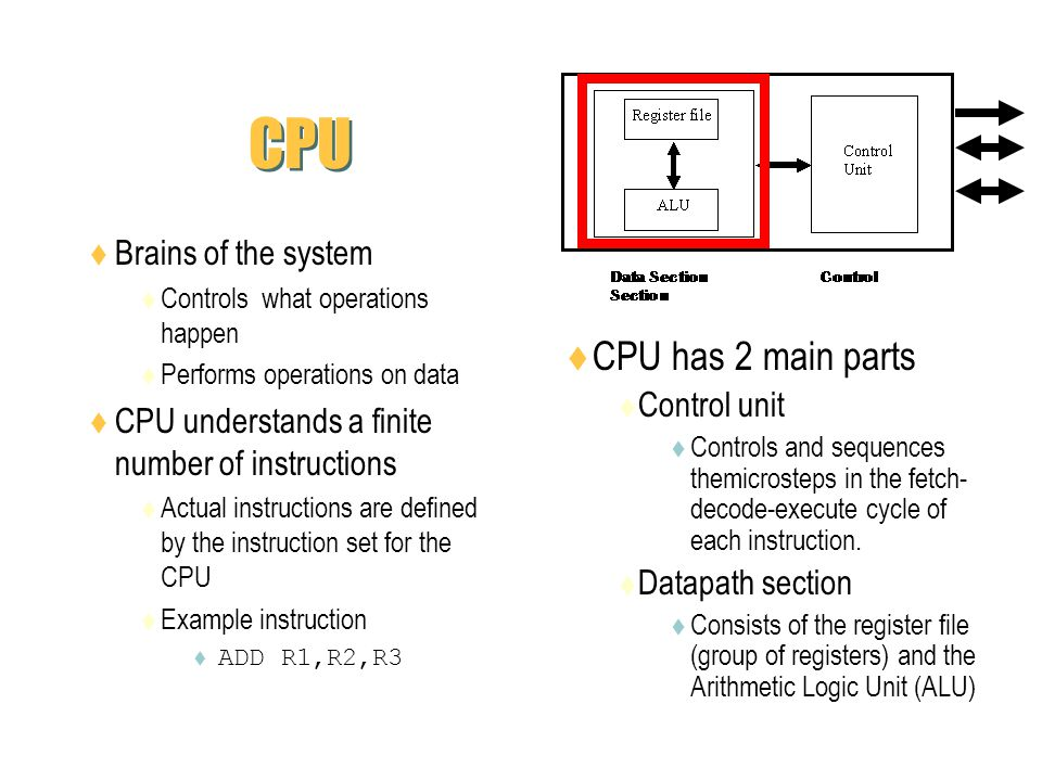 CPU Brains of the system Controls what operations happen Performs operations on data CPU understands a finite number of instructions Actual instructio