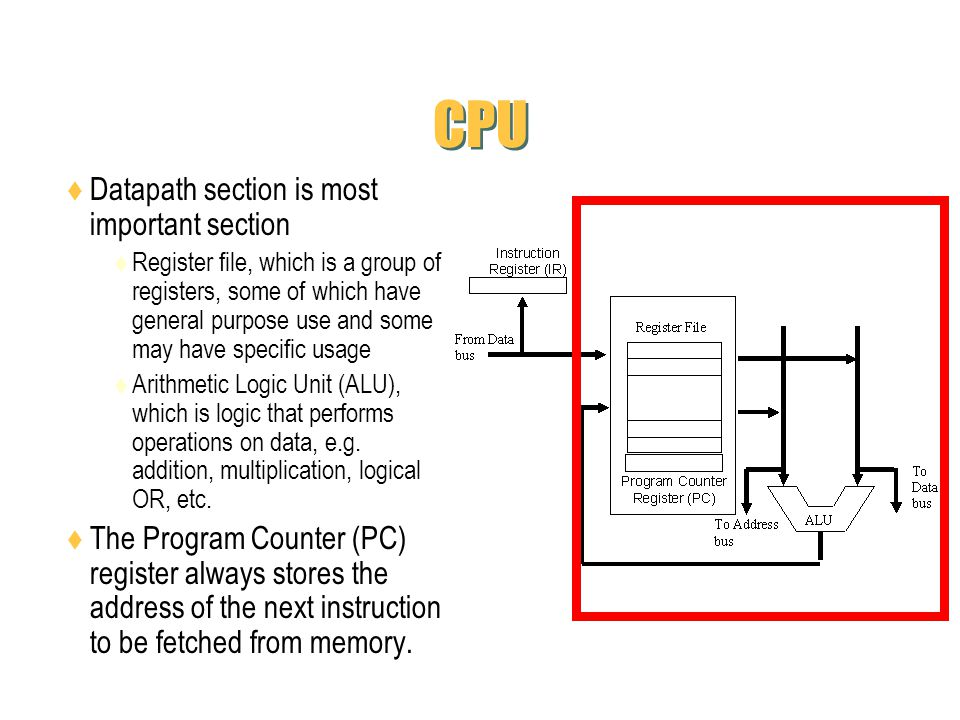 CPU Datapath section is most important section Register file, which is a group of registers, some of which have general purpose use and some may have