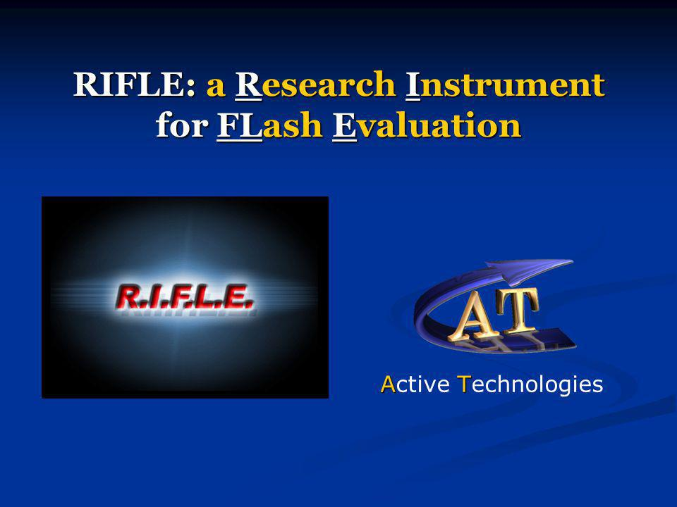Active Technologies - RIFLE presentation - October 2003 Threshold Voltage Maps with 20 resolution levels: 1 11 1 29 s Performances Time requirements (examples)
